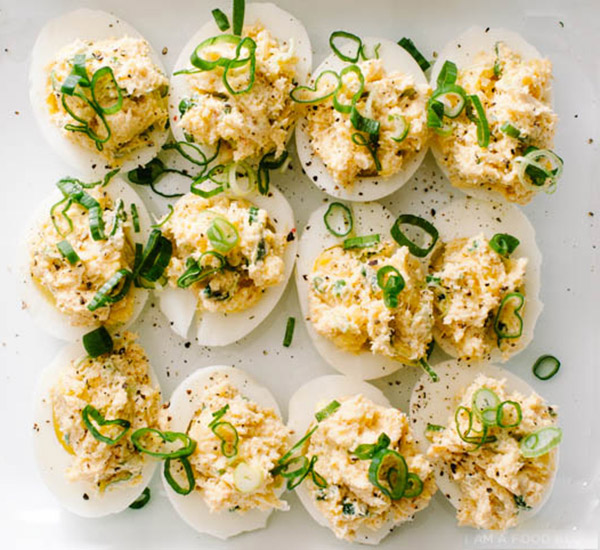 Crab Rangoon Deviled Eggs