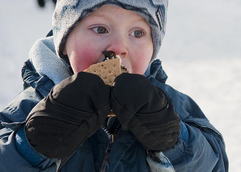 Kid eating smores via Denali National Park and Preserve