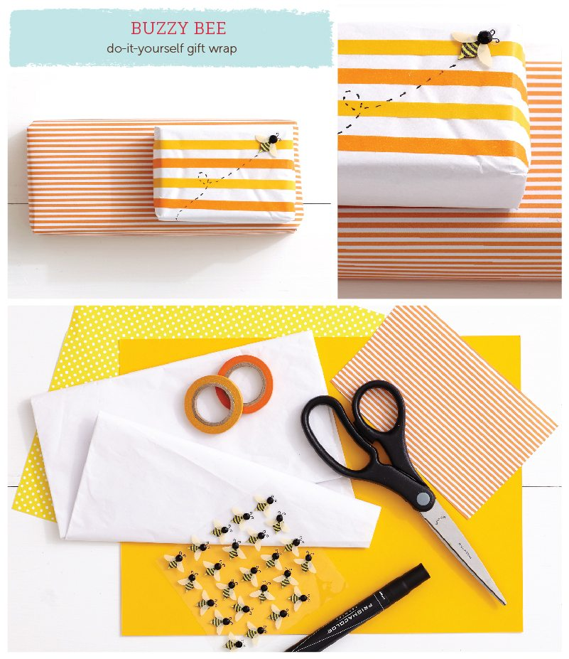 Buzzy Bee DIY Gift Wrap Idea