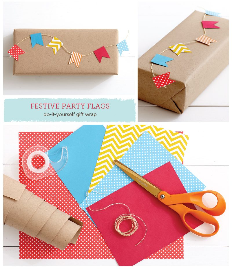 Festive Party Flags DIY Gift Wrap Idea