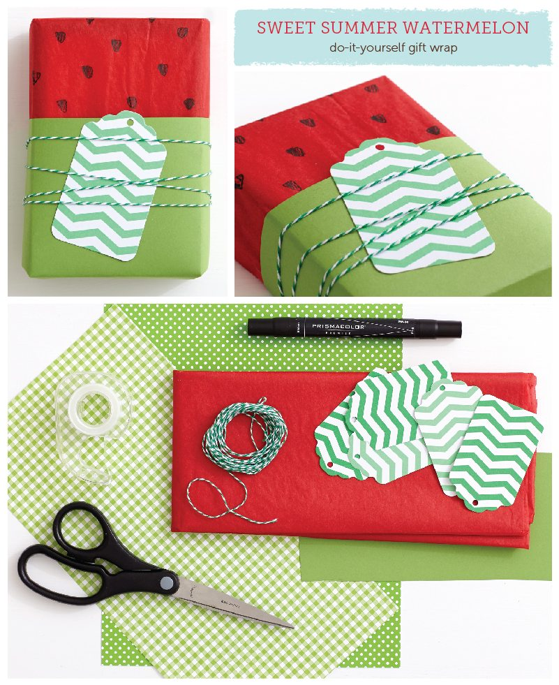 Sweet Summer Watermelon DIY Gift Wrap Idea