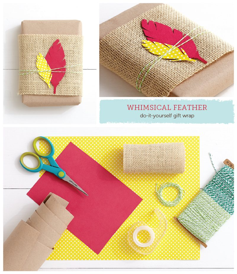 Whimsical Feather DIY Gift Wrap Idea