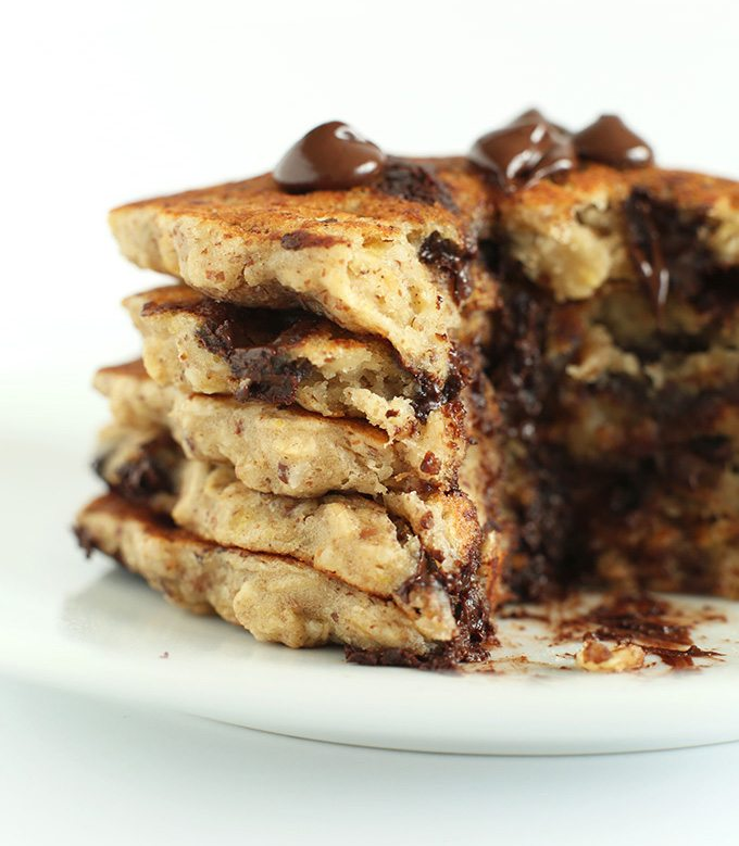 Easy-Healthy-Chocolate-Chip-Oatmeal-Cookie-Pancakes-One-bowl-30-minutes-plus-vegan-AND-glutenfree