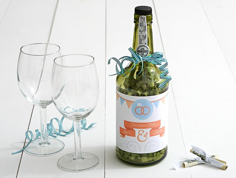 Creative Ways to Gift Cash for a Wedding | Upcycled Wine Bottle