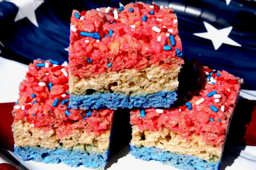 Red, White & Blue Rice Krispie Treats