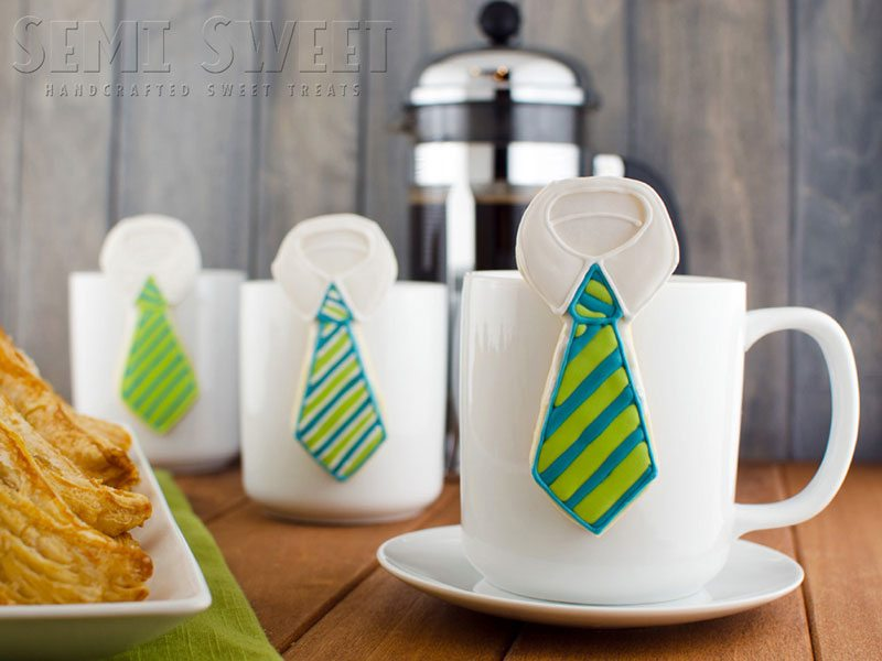 fathers day hanging mug neck tie cookies
