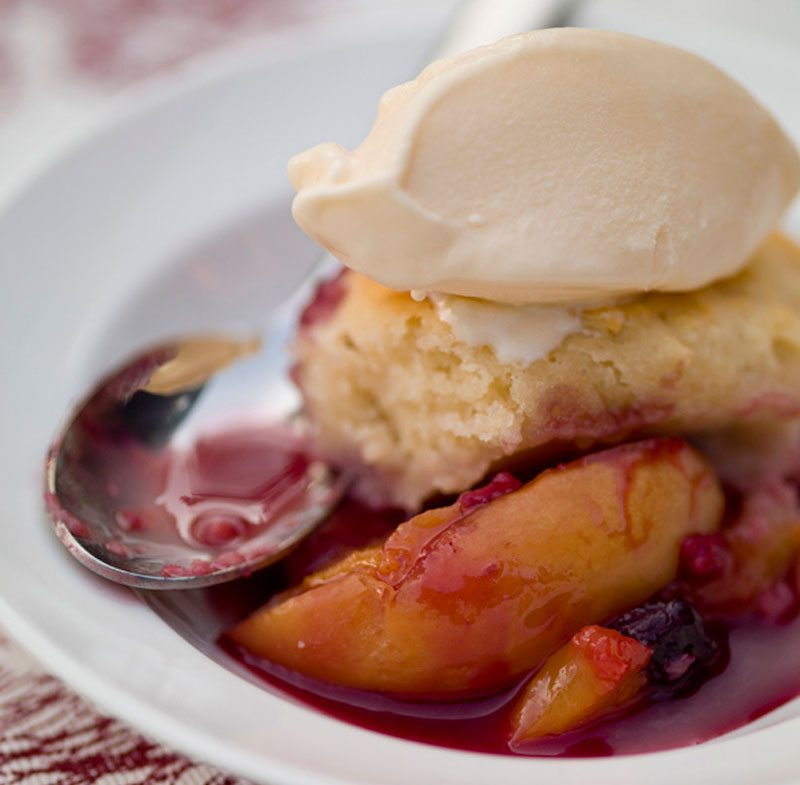 gluten free grilled fruit cobbler