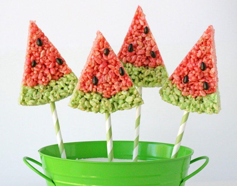 Treats on a Stick | Watermelon Krispie Treats