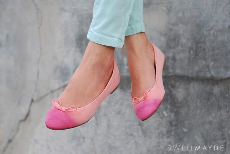 dip dye ballet flats