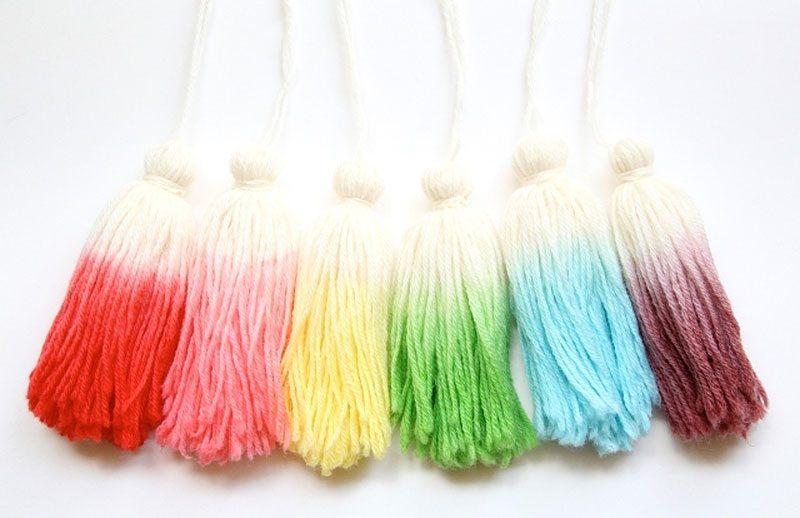 dip dye wool tassels