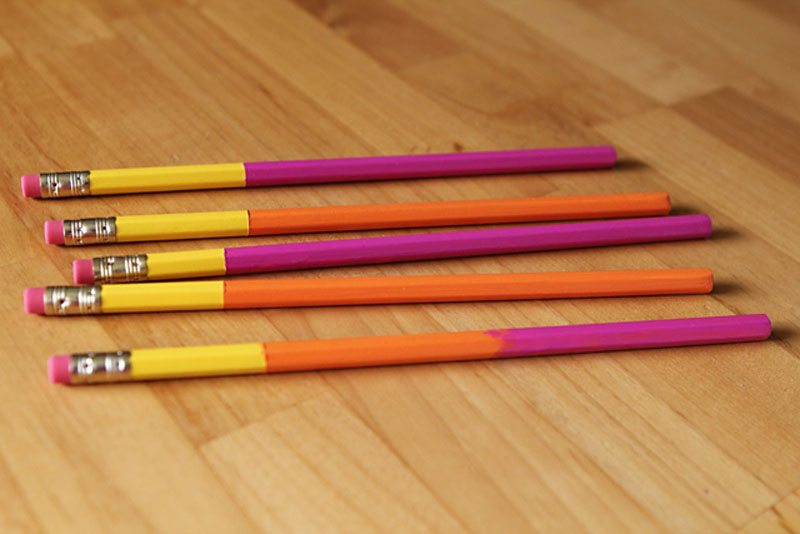dip dyed pencils
