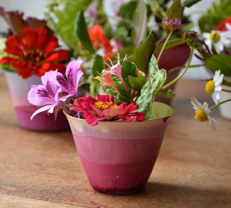 dip dye flower cups