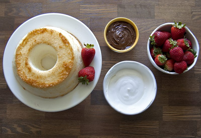 Chocolate Strawberry Angel Food Cake
