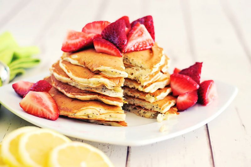 Lemon Poppy Seed Pancakes With Strawberries