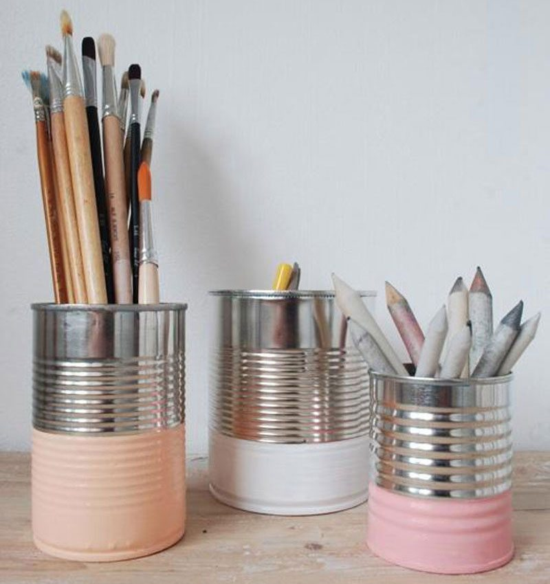painted cans with pencils