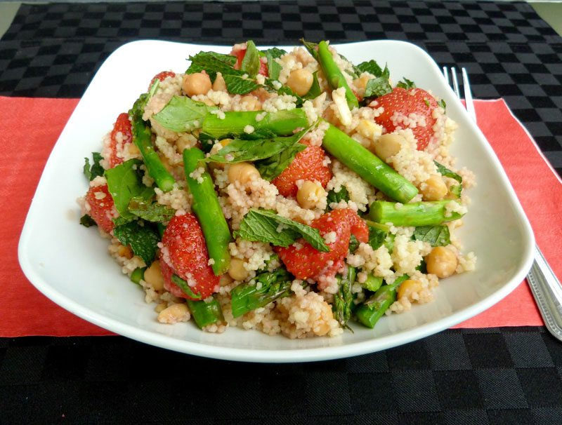 Roasted Strawberry, Chickpea and Asparagus Couscous
