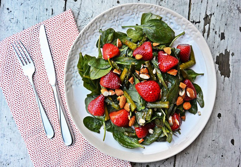 Roasted Strawberry Salad With Strawberry-Tahini Dressing