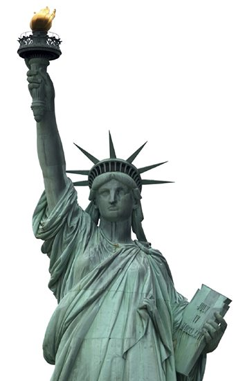 """france gives statue to the united states as a friendship token The statue of liberty, a gift of friendship from the people of france to the people of the united states, is dedicated in new york harbor by president grover """"the new colossus,"""" a sonnet by american poet emma lazarus that welcomed immigrants to the united states with the declaration, """"give me your tired, your poor."""