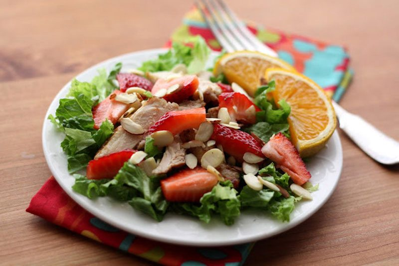 Strawberry Chicken Salad With Warm Orange Vinaigrette