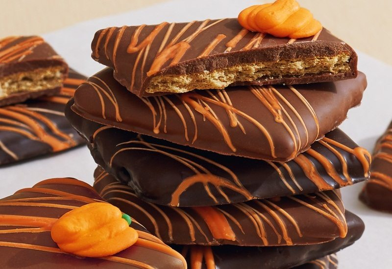 Autumn Chocolate Covered Graham Crackers