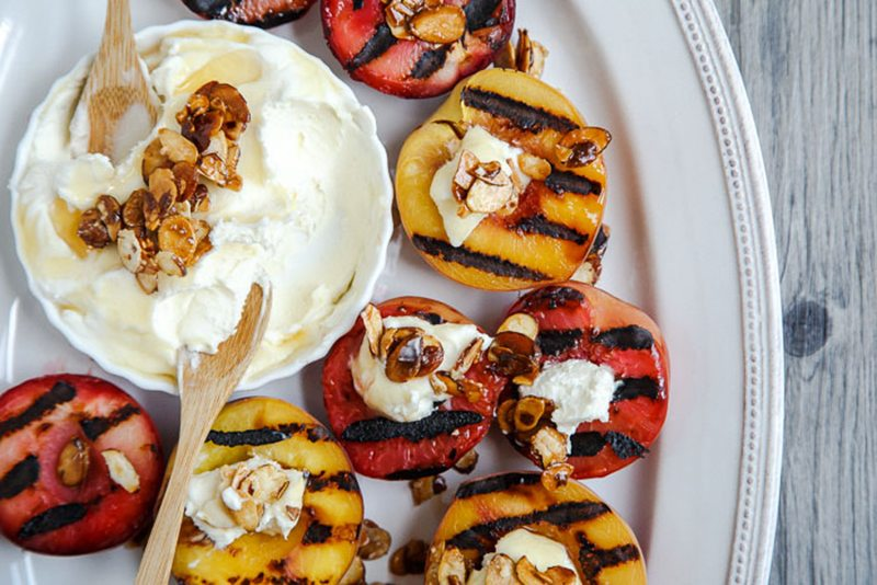 Grilled Fruit with Almond Mascarpone