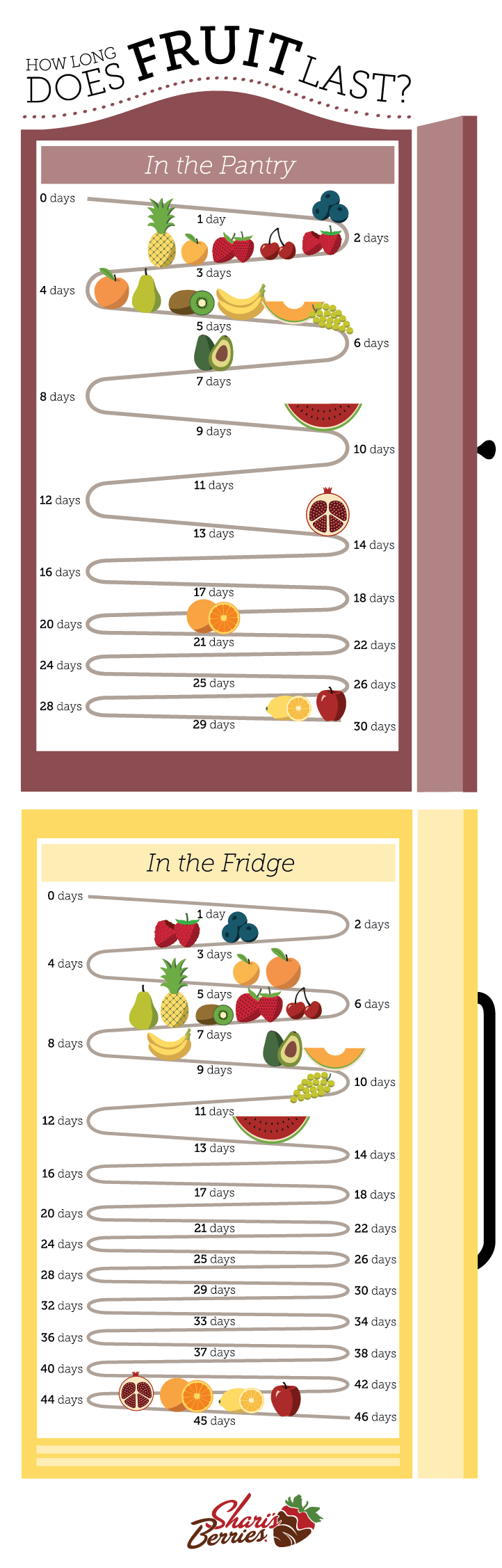 Graphic of how long fruit lasts by Shari