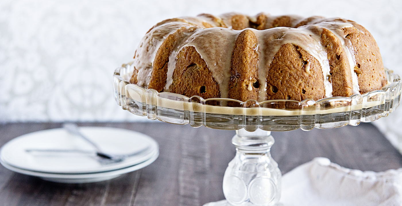 Caramel Apple Bundt Cake with Caramel Glaze