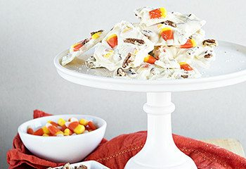 Pecan and Candy Corn White Chocolate Bark