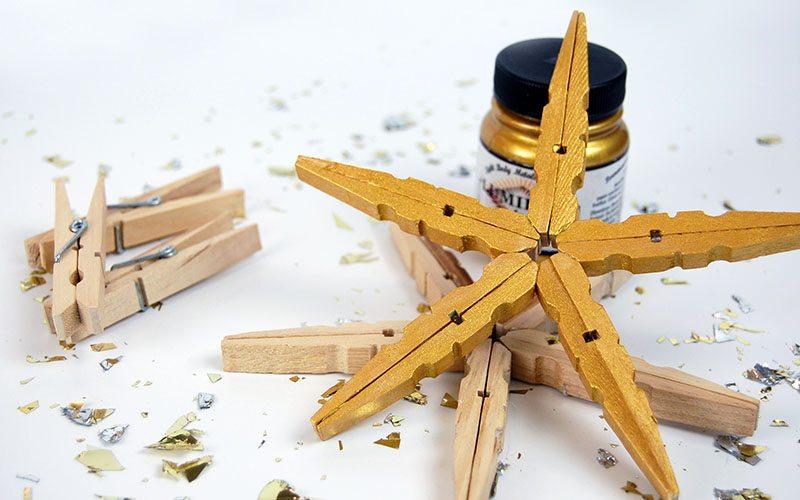 DIY: Clothes Pin Snowflakes