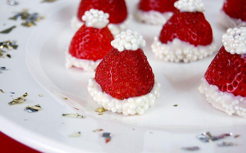 White Chocolate Covered Strawberry Santa Hats