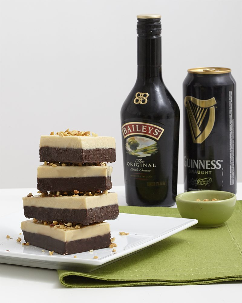 St. Patrick's Day: Boozy Two Layer No Bake Fudge