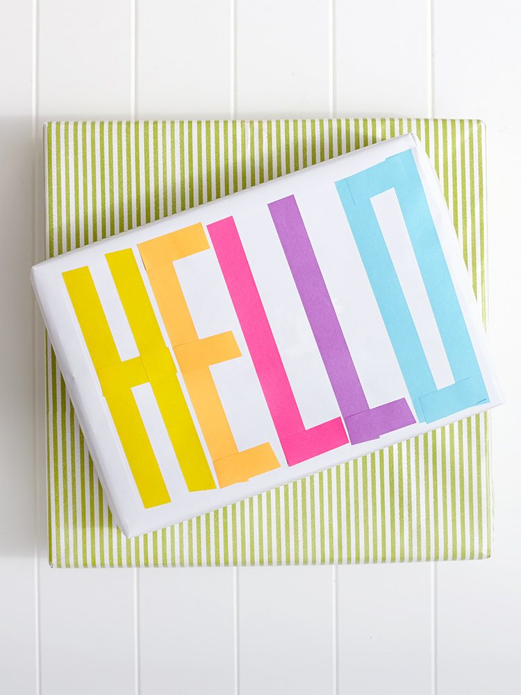 Spring Washi Tape Gift Wrapping: Say Hello