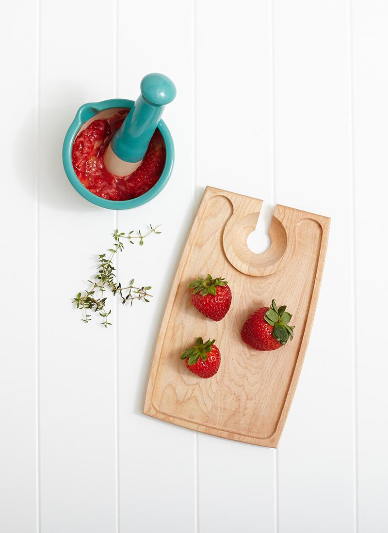 Muddled Strawberry & Thyme Ice Cubes