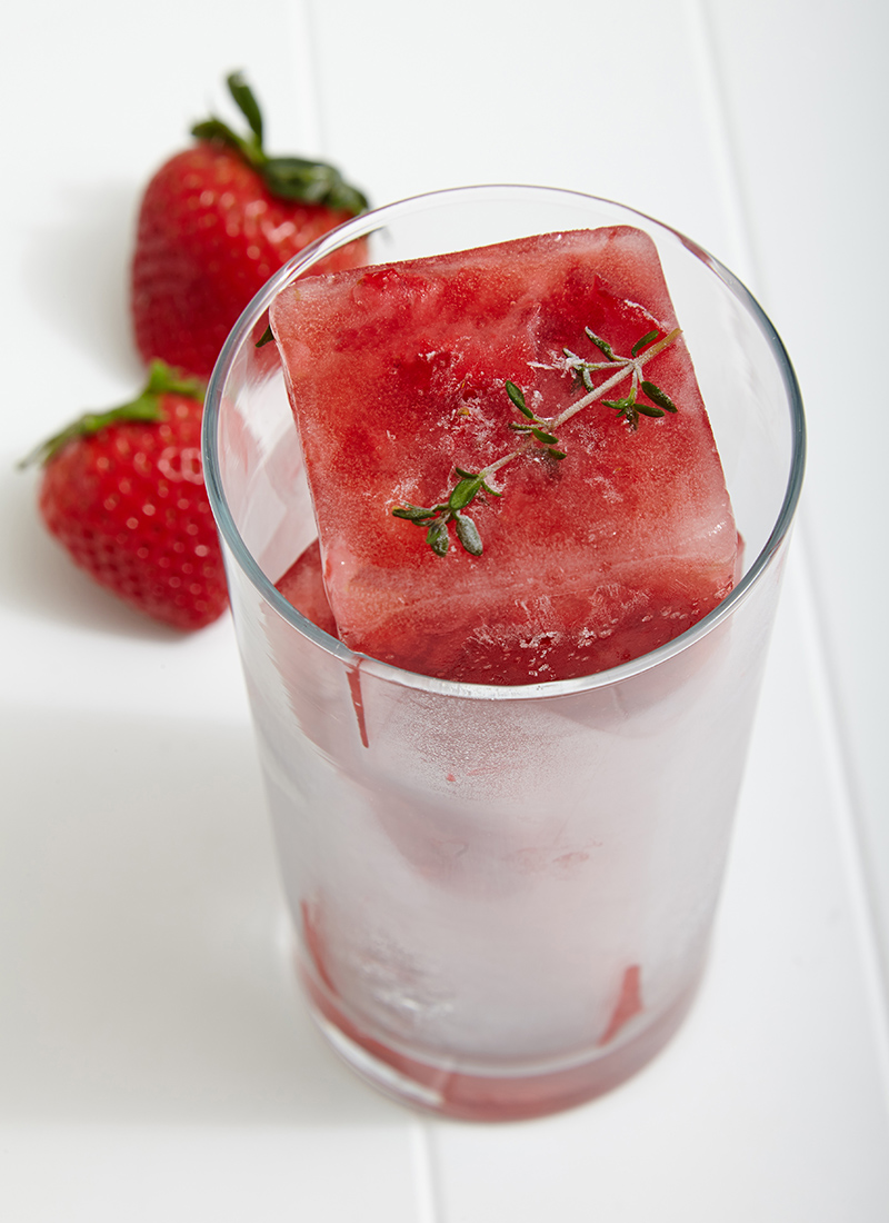 Muddled Strawberry and Thyme Ice Cubes