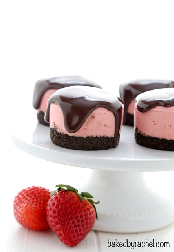 No Bake Strawberry Cheesecake with Chocolate Ganache | Baked By Rachel