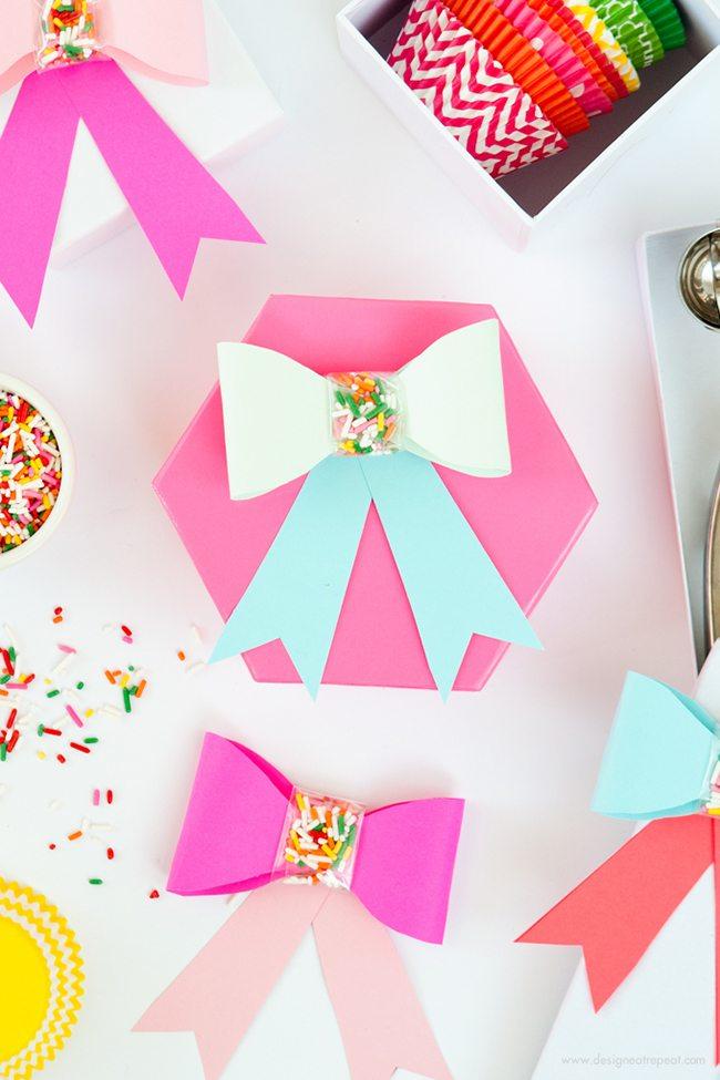 DIY Paper Sprinkle Bows   Design Eat Repeat