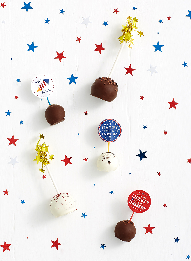 Shari's Berries Cake Pops decorated with 4th of July printable food flags