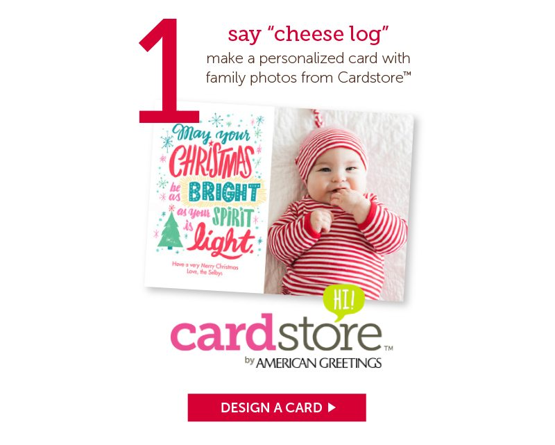 say cheese log card store with american greetings