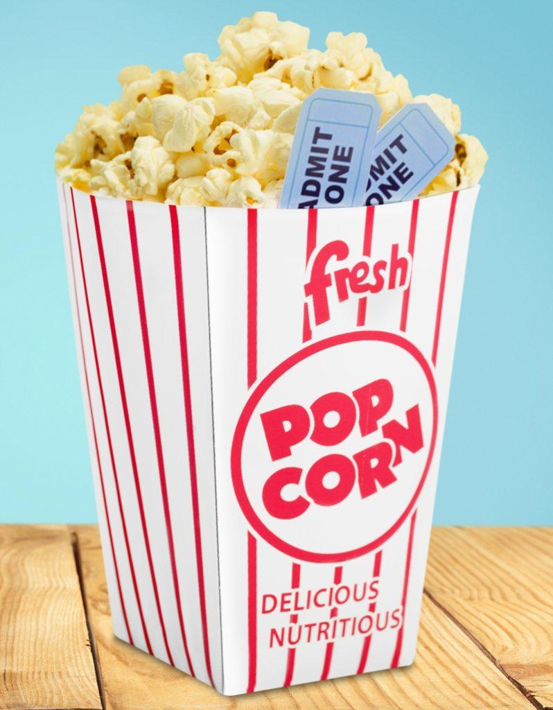 Movie Night popcorn box and tickets