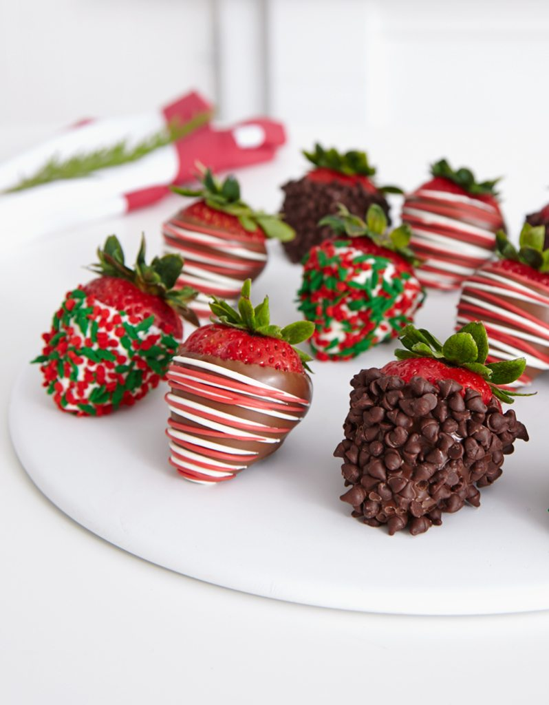 Christmas holiday chocolate covered strawberries