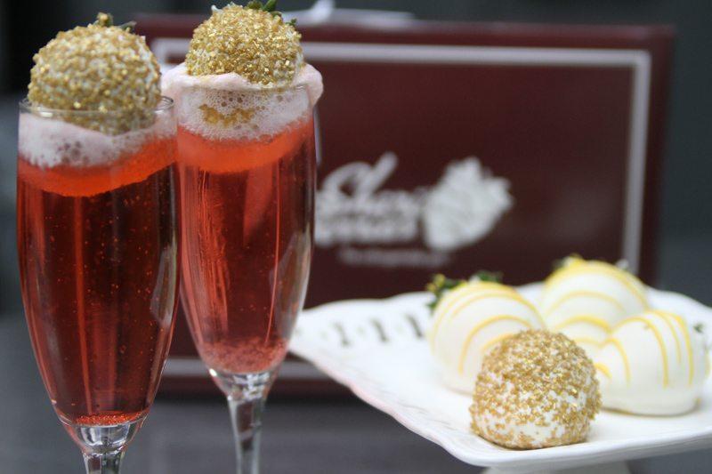 vanilla ice cream champagne cocktail and Shari's Berries dipped strawberries