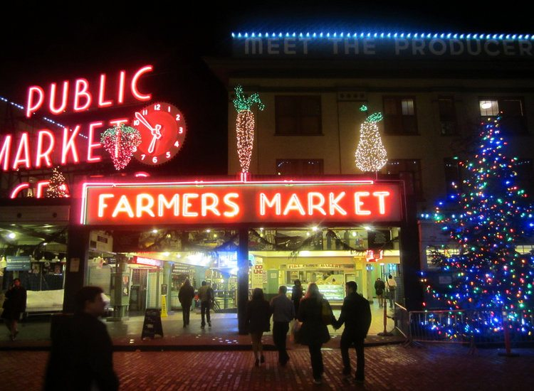 Seattle's Public Market Holiday lights