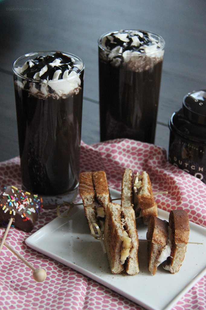 Kahlua hot chocolate covered marshmallow pops banana smores kebabs