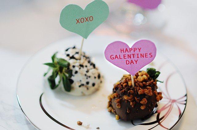 Valentine's Day conversation hearts chocolate covered strawberries Shari's Berries