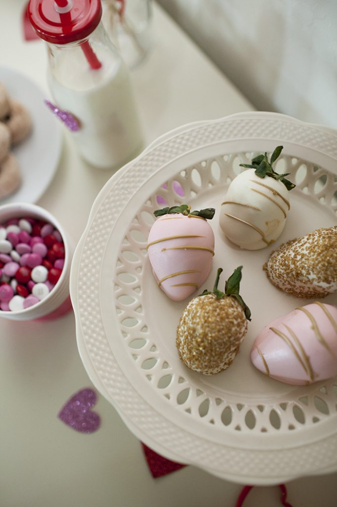 champagne dipped strawberries and candies