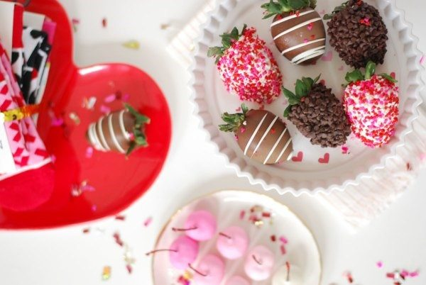 chocolate chip covered strawberries Valentines Day Galentines Day heart shaped plate