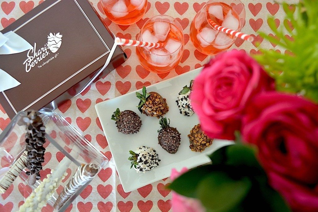 chocolate dipped strawberries Shari's Berries with red roses