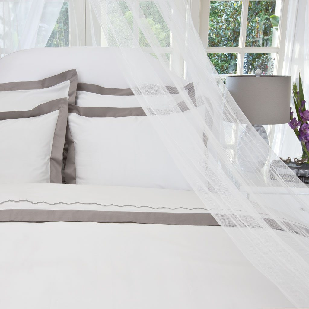 crane and canopy gray border duvet