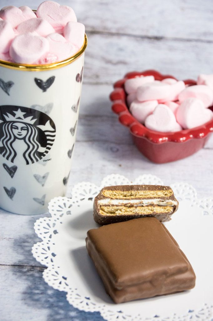 pink heart mashmallows hot cocoa chocolate covered smores