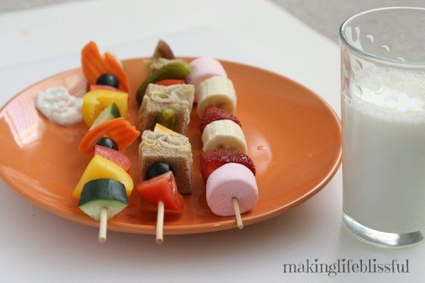 lunch kabobs fruit vegetables meat cheese